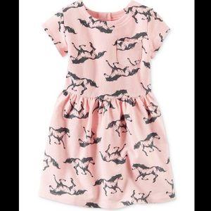 Carters Horse-Print Dress Short Sleeve Zipper Back